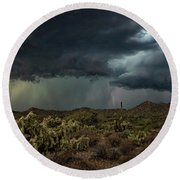 Round Beach Towel featuring the photograph Summer Storm  by Saija Lehtonen