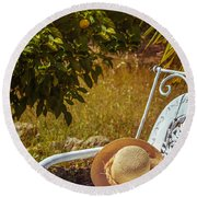 Summer Straw Hat Round Beach Towel