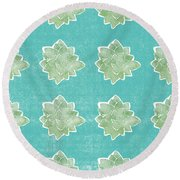 Summer Succulents- Art By Linda Woods Round Beach Towel