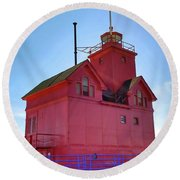 Round Beach Towel featuring the photograph Summer Sun And Big Red by Michelle Calkins