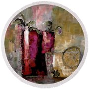 Summer Sunday Sangria With Lemon Water Infusion Painting Round Beach Towel