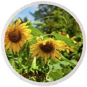 Summer Sunflowers Round Beach Towel