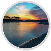 Summer Sunrise At The Inlet Round Beach Towel
