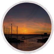 Summer Sunrise In Bar Harbor Round Beach Towel