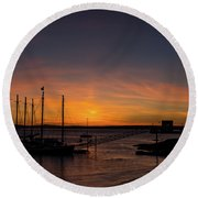Summer Sunrise In Bar Harbor Round Beach Towel