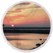 Round Beach Towel featuring the photograph Summer Sunrise On Lake Ontario by Rod Best