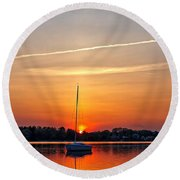 Summer Sunset At Anchor Round Beach Towel