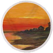 Summer Sunset At  Crystal Beach Round Beach Towel