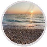 Summer Sunset At Pierport  Round Beach Towel