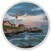 Summer Sunset At Portland Head Light Round Beach Towel