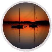 Summer Sunset Calm Anchor Round Beach Towel