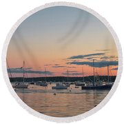 Summer Sunset In Boothbay Harbor Round Beach Towel