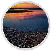 Summer Sunset In Rye Round Beach Towel