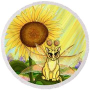 Summer Sunshine Fairy Cat Round Beach Towel