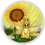 Summer Sunshine Fairy Cat Round Beach Towel