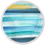 Summer Surf 2- Art By Linda Woods Round Beach Towel