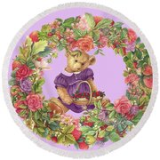 Summer Teddy Bear With Roses Round Beach Towel
