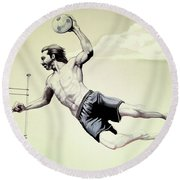 Summer Time Volley Ball Round Beach Towel by Cheryl Poland