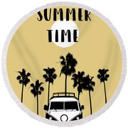 Summer Time Yellow Round Beach Towel