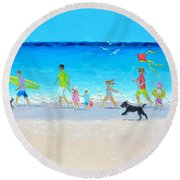 Summer Vacation Time Round Beach Towel