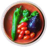 Summer Vegetables Round Beach Towel by Hamamura86