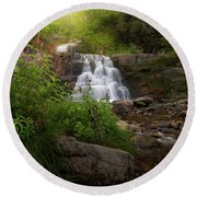 Round Beach Towel featuring the photograph Summer Waterfall by Bill Wakeley