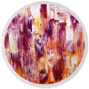 Summer Waterfall Abstract Round Beach Towel