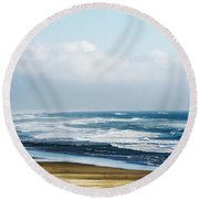 Summer Waves Netarts Oregon Round Beach Towel