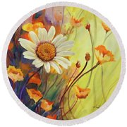 Summer Wild Flowers Round Beach Towel