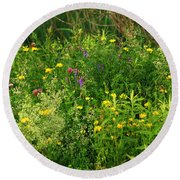 Round Beach Towel featuring the photograph Summer Wildflowers by Smilin Eyes  Treasures
