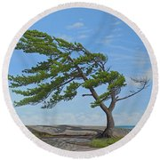 Round Beach Towel featuring the painting Summer Wind by Kenneth M Kirsch