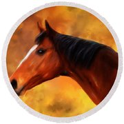 Summers End Quarter Horse Painting Round Beach Towel