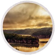 Summersville Lake At Daybreak Round Beach Towel