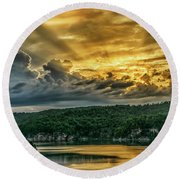 Summersville Lake Sunrise Round Beach Towel