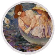 Round Beach Towel featuring the painting Summertime By Mary Cassatt 1894 by Movie Poster Prints