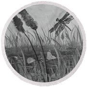 Round Beach Towel featuring the painting Summertime Dragonfly Black And White by Robin Maria Pedrero