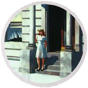 Summertime  Round Beach Towel by Edward Hopper