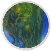 Summertime Impressions 3 Watercolor Round Beach Towel