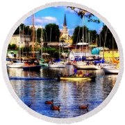 Summertime On The Harbor Round Beach Towel