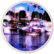 Summertime On The Harbor II Round Beach Towel