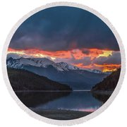 Summit Cove June Sunset Round Beach Towel