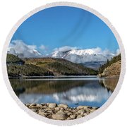Summit Cove November Snow Round Beach Towel