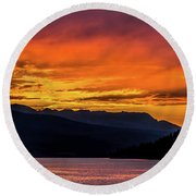 Summit Cove Sunset At Lake Dillon Round Beach Towel
