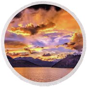 Summit Cove Sunset At Summerwood Round Beach Towel
