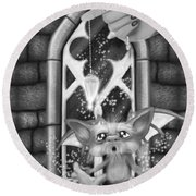 Summoned Pet - Black And White Fantasy Art Round Beach Towel