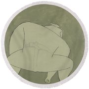 Round Beach Towel featuring the painting Sumo Wrestler by Ben Gertsberg