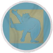Round Beach Towel featuring the painting Sumo Wrestler In Blue by Ben Gertsberg