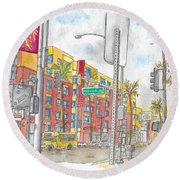 Sunset Blvd, And Hayworth, West Hollywood Round Beach Towel by Carlos G Groppa