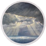 Storm Subsides Round Beach Towel