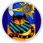 Sun And Moon - Honourable Cat - Art By Dora Hathazi Mendes Round Beach Towel by Dora Hathazi Mendes